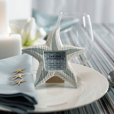 Small Wooden Starfish Wedding Favor Photo Frames #rustic #wedding #beach