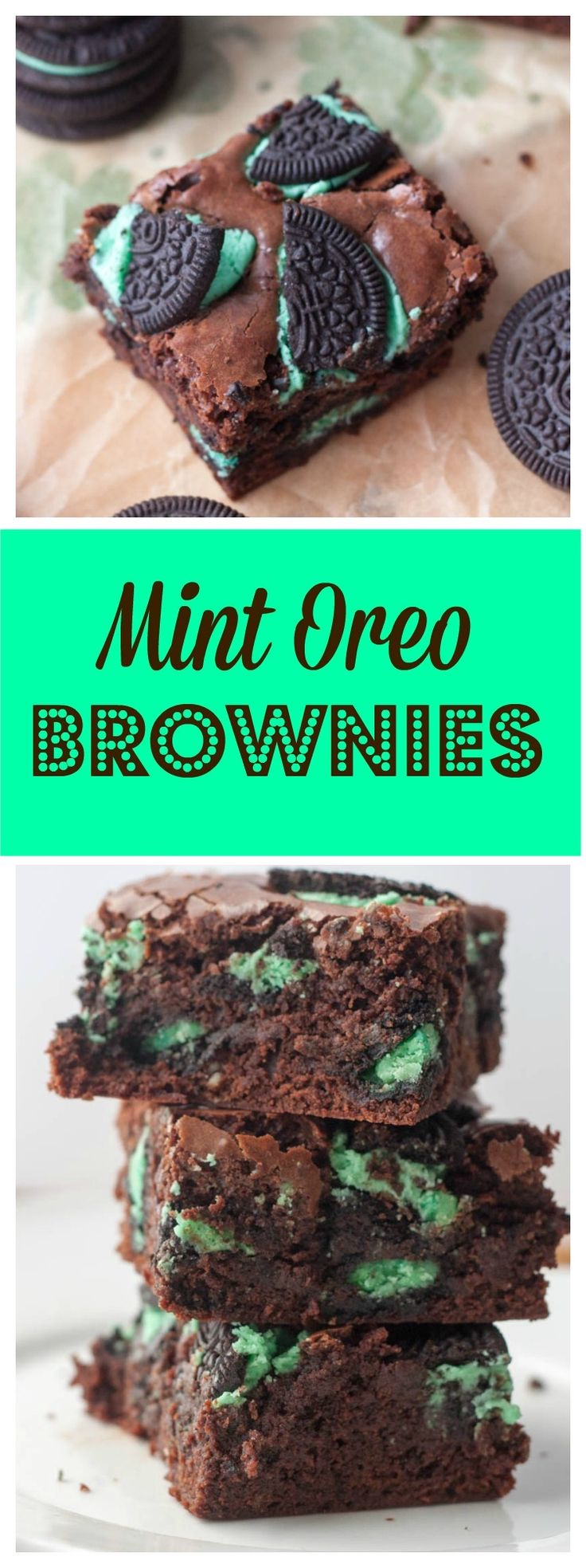 Mint Oreo Brownies- classic fudgy brownies loaded with Mint Oreo cookies to make them absolutely chocolate heaven! Pin now for later when you have a chocolate craving! http://www.bostongirlbakes.com/2015/03/21/mint-oreo-brownies/