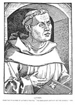"""Martin Luther (1483-1546) from the Title Page of """"The Babylonian Captivity of the Church (1520) from Henry Eyster Jacobs, Martin Luther. The Hero of the Reformation. New York & London: The Knickerbocker Press, 1898. Facing p.142."""