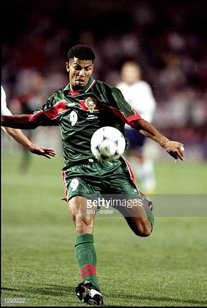 Abdeljilil Hadda of Morocco on the ball during the World Cup group A game against Norway at the Stade de la Mosson in Montpellier France Hadda scored...