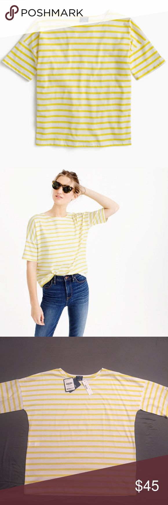 Saint James®for J.Crew short sleeve slouchy Tshirt NWT/ mark on label/ PRODUCT DETAILS Saint James has been spinning some of the world's finest knits out of its Normandy-based factory since 1889 and has become famous for its Breton shirt, a nautical-inspired style featuring classic stripes. Designed exclusively for us, this airy cotton version features a roomy body and slimmer sleeves.   Cotton. Machine wash. Made in France. Item C7597. J. Crew Tops Tees - Short Sleeve