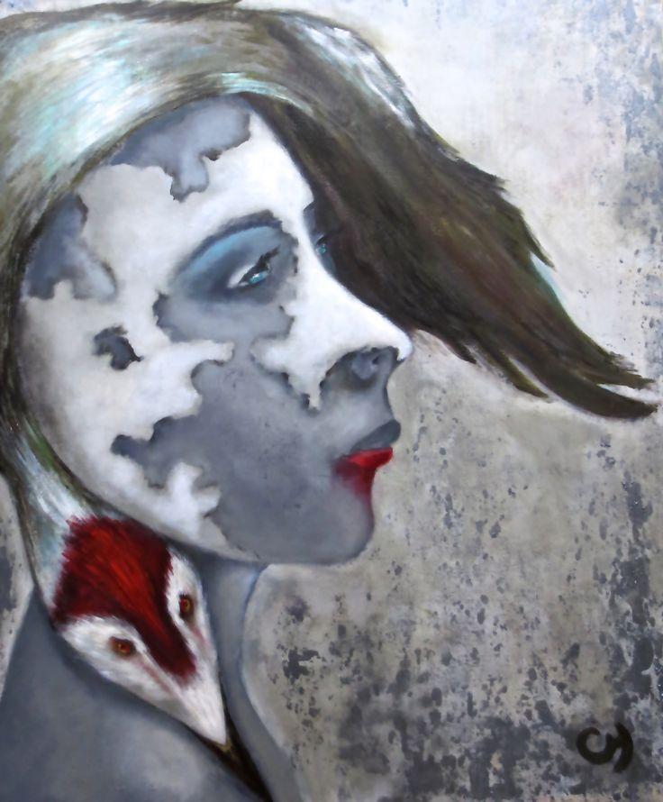 Terre par Christyne Proulx / ©2016/ acrylique sur bois / 30X36/ figurative and contemporary art/ acrylique, art painting, Street Art (Urban Art), Canvas, Women, Portraits, femme,oiseaux, héron, street art, patchwork, peinture, expressionnisme, surréaliste, contemporain, abstrait, tableau street art,