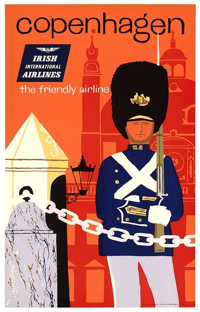 ON LINEN- ORIGINAL Vintage Travel Poster IRISH AIRLINES Copenhagen DENMARK Royal