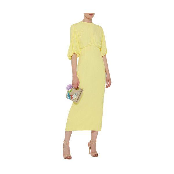 Emilia Wickstead     Ligia Pencil Dress ($2,100) ❤ liked on Polyvore featuring dresses, gathered dress, emilia wickstead, rouched dress, ruched dress and fitted pencil dresses