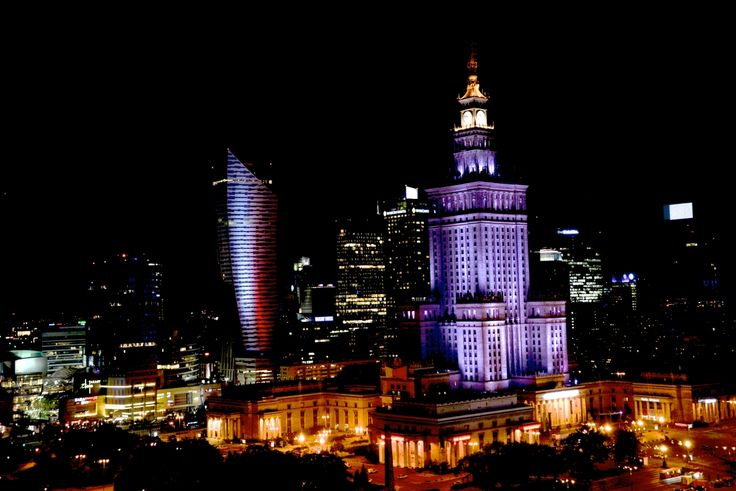 The the Palace of Culture and Science in Warsaw at night. photo Dennis Faro