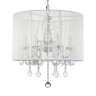 Swag Plug In Chandelier with Crystals and Large White Shade - 6 Lights