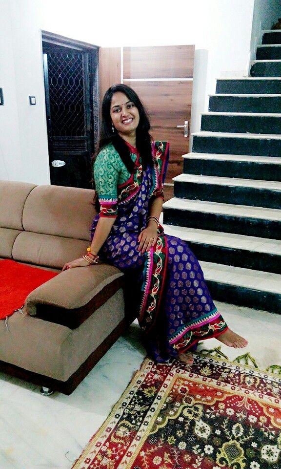 Silk sari.. violet color.. with golden dot design.