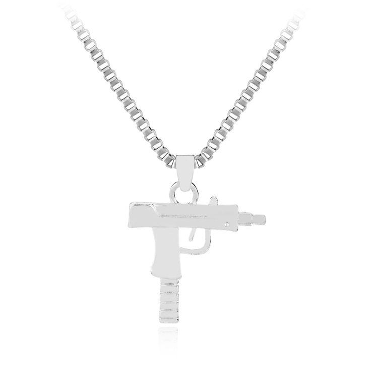 Chain Pendants Necklaces Hip hop long necklace  Gold Plated Pistol Uzi Gun 60cm  Men Women HipHop Maxi Necklace Men Jewelry