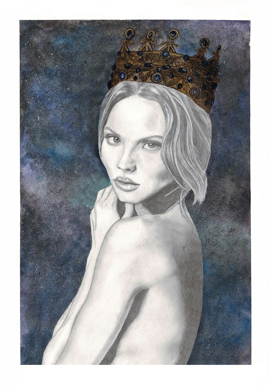 Queen of the night Art Print | Pencil portrait, watercolour & gouache night sky