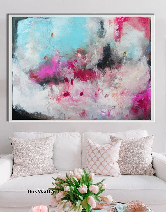 Impresión de originales, impresión azul rosa moderna, pintura abstracta grande, salmón rosa, floral arte de la pintura, arte magenta, fucsia pintura