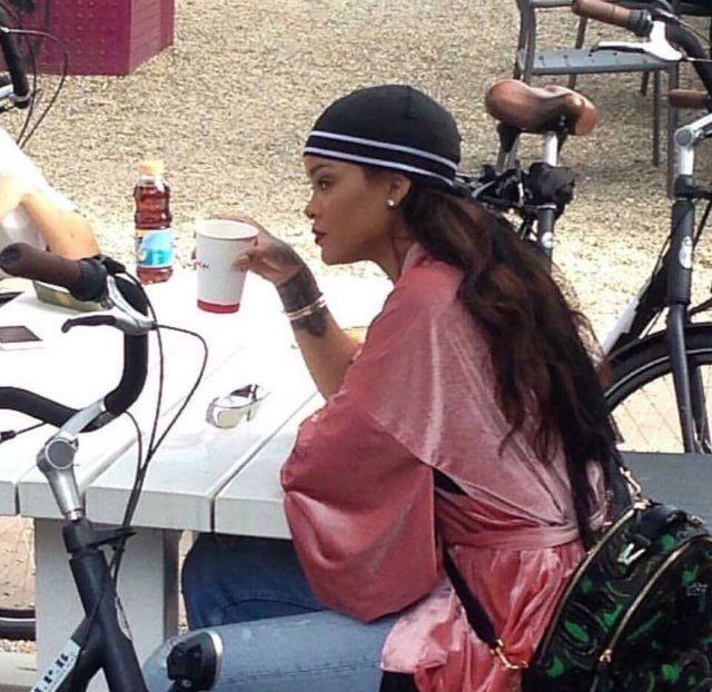 Rihanna In Versace Palazzo Backpack - Hauso f rihanna  0ee9f4c27d03
