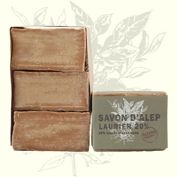 """Aleppo Soaps with Laurel Oil  This high quality olive and laurel (20%) soap from Aleppo is processed according to ancient traditions. Genuine Levantine """"green gold"""" is generously rich in vitamins, indispensable fatty acids and unsaponifiables. This bath and personal hygiene soap cleanses and cares for the skin."""