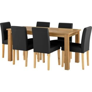 Buy Madison Oak Effect Dining Table And 6 Black Chairs At
