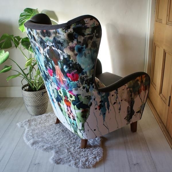 1950s German wingback armchair, reupholstered in Designers Guild Brea Lino linen (grey) and Timorous Beasties paint splatter linen