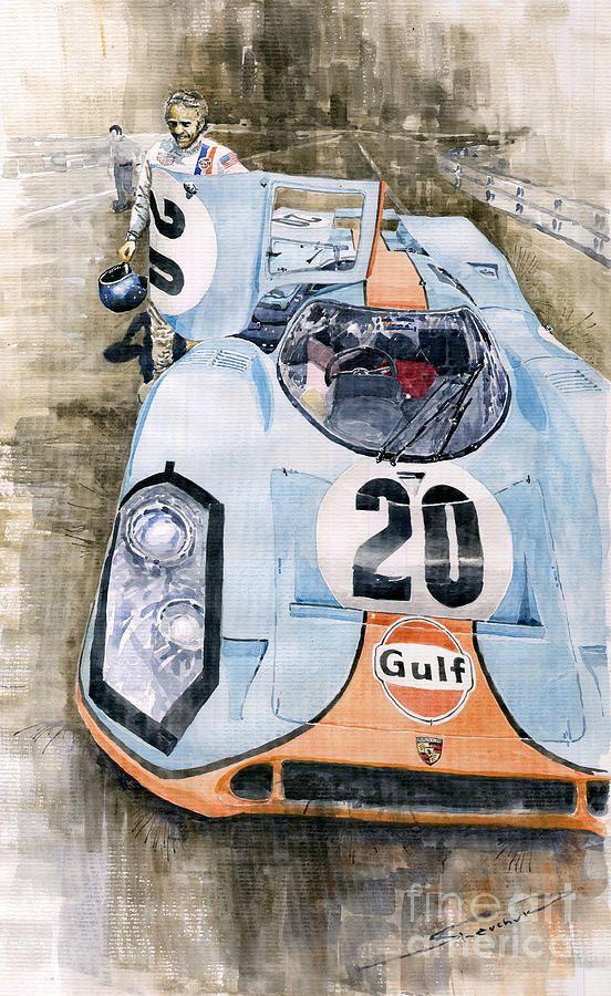 Yurly Shevchuk   WATERCOLOR     Steve Mcqueens Porsche 917k Le Mans Painting