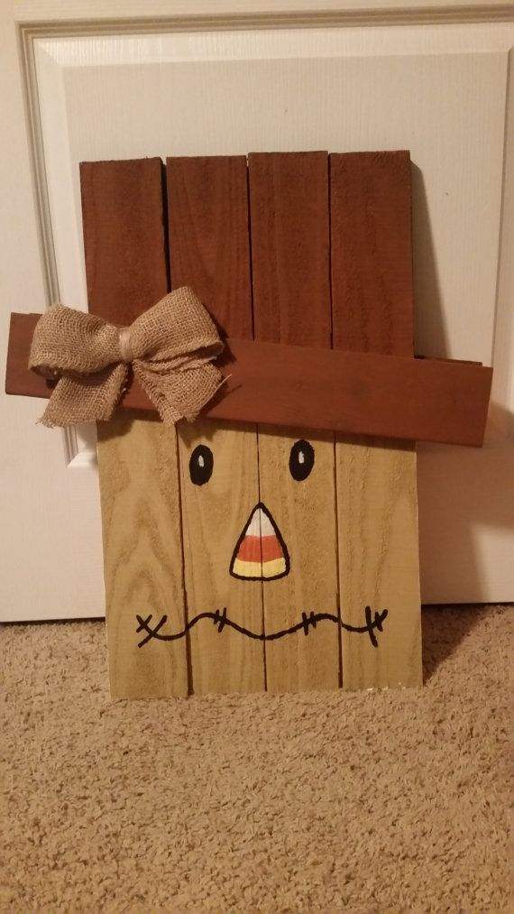 One-Sided Wooden Scarecrow Face by InspiredArtCrafts on Etsy