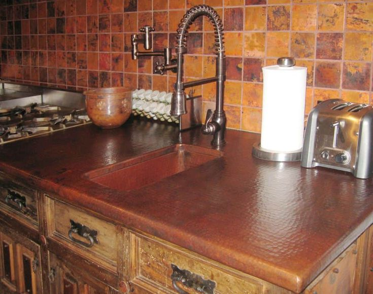 Aesthetic And Elegant Kitchen Copper Countertops