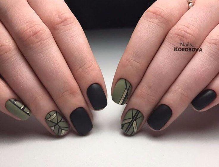 Геометрия в стиле милитари nailsoftheday.com #маникюрдня #ногти #гельлак #дизайнногтей #идеидляманикюра #мастерманикюра #nailмастер #gelpolish #nails #маникюр #темныйманикюр #геометрия #хаки