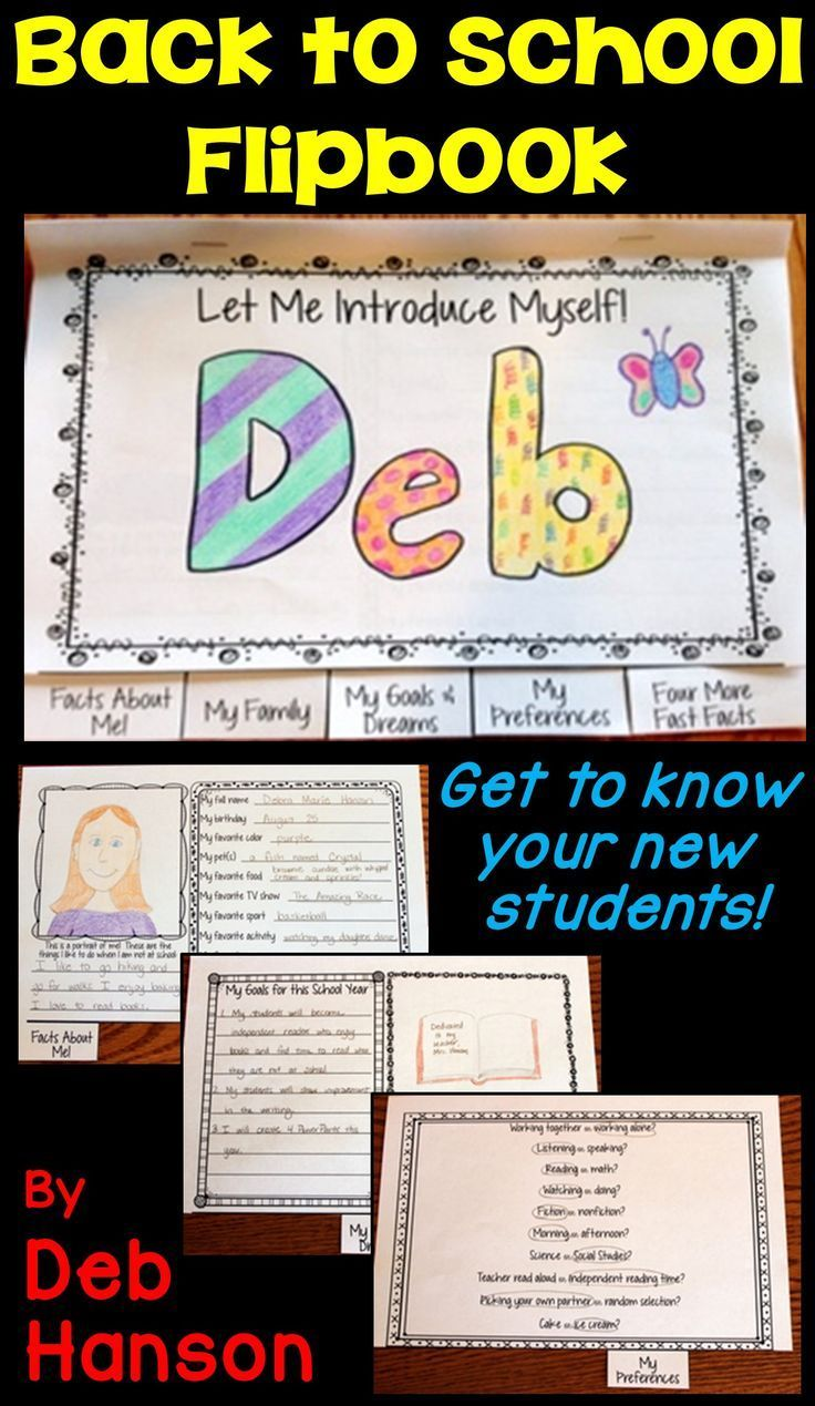 This is a fun back-to-school activity where we teachers can get to know our incoming students! The pages of this flipbook include: 1. Facts About Me! 2. My Family 3. My Goals and Dreams 4. My Preferences 5. Four More Fast Facts