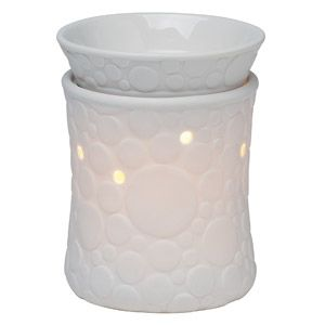 A cool, modern design of circles on bone-finish porcelain. Glows from within when lit.