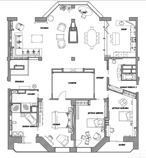 Дизайн интерьера квартиры на ул. Пржевальского  г. Тюмень на 219 кв. м.