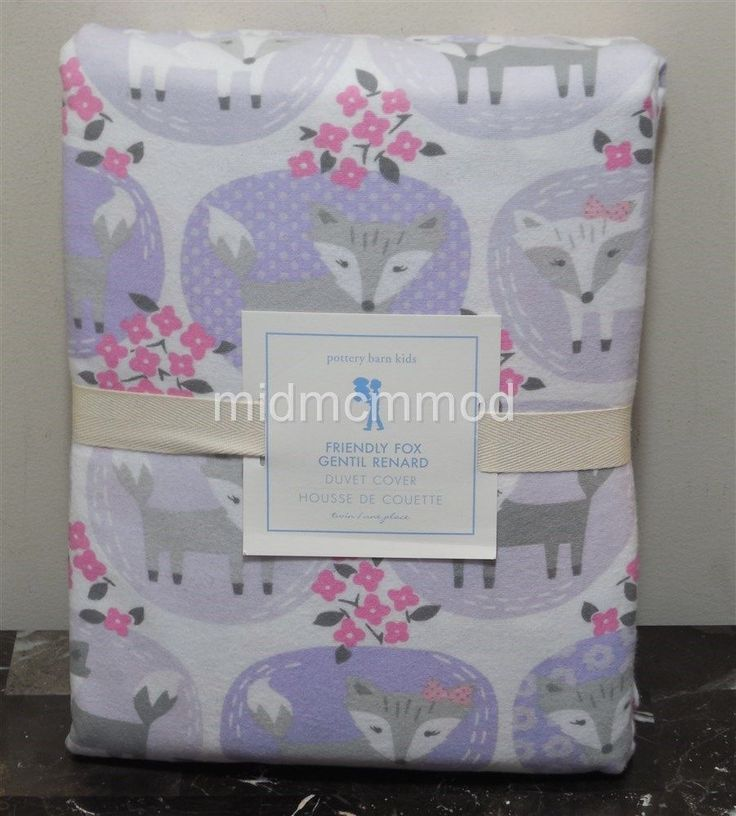 NEW Pottery Barn Kids FRIENDLY FOX TWIN Duvet Cover Flannel ~Purple NIP Lavender in Home & Garden, Kids & Teens at Home, Bedding | eBay