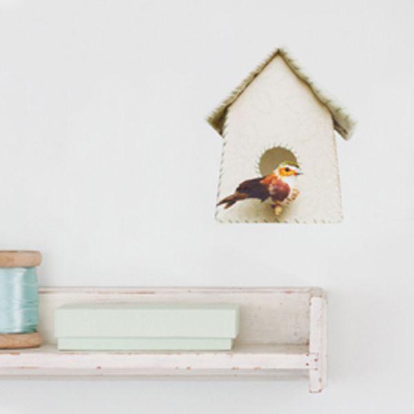 Vogelhuisje muursticker groene bloemen | Producten | Studio ditte