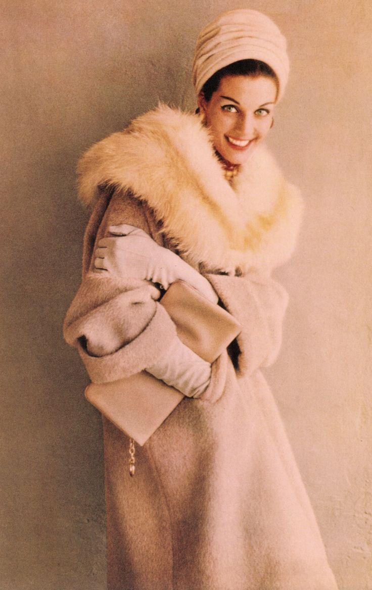 MAGGIE TABBERER probably Australia's greatest model. Photo by HELMUT NEWTON 1960. Wearing a 100% llama coat & fox collar. From In Vogue Australia. (minkshmink)