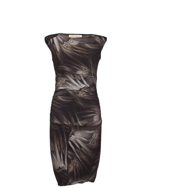 Annaeva Sleeveless Party Dress - Greyish Pattern ($150) ❤ liked on Polyvore