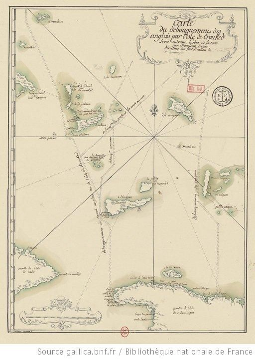 Carte du débouquement des Anglois par l'isle de Crouked levée suivant l'ordre de la Cour par M. Frezier, Directeur des fortifications de St....