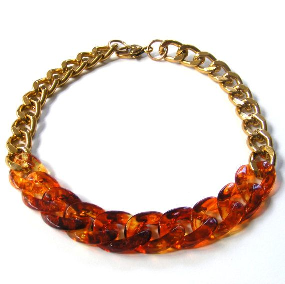 Chunky Tortoise Shell Necklace Chunky Necklace  por LovetheColor