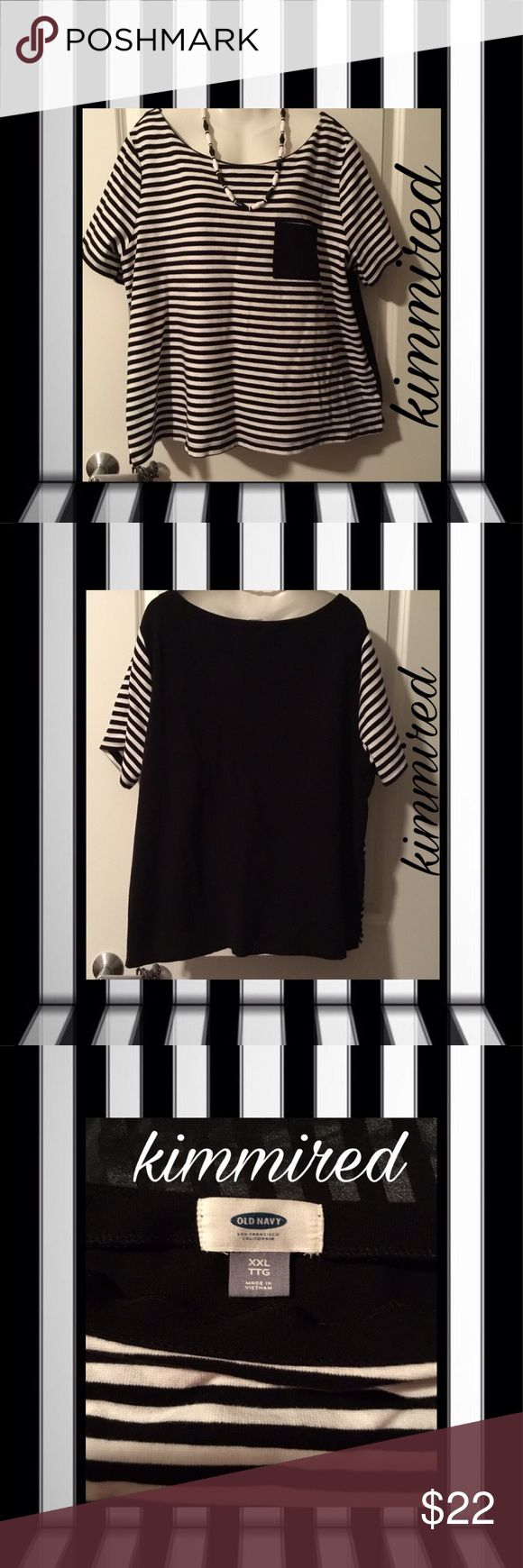 Black and white striped t shirt xxl - Old Navy Black White Striped Shirt Xxl Nwot Flats Smoke And Short Sleeves