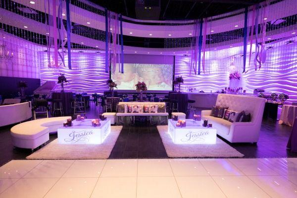 Purple Bat Mitzvah Party with LED Lounge Decor at Vegas NJ - mazelmoments.com