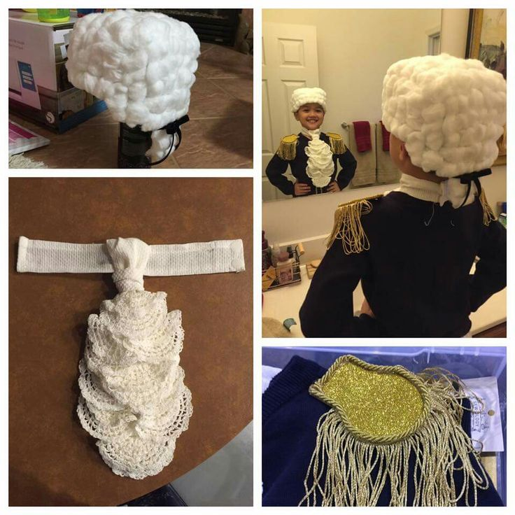 Cotton ball wig - ascot out of a cheap kitchen towel and left over doilies, epaulettes - and voila - George Washington!!!