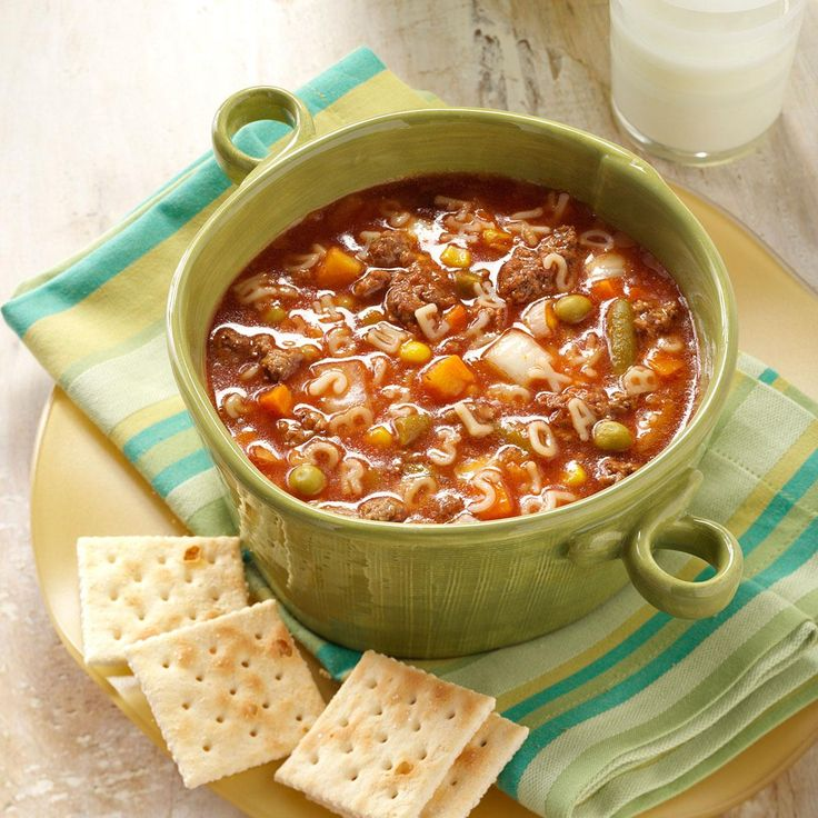 ABC Soup Recipe -Instead of opening a can of alphabet soup, why not make some from scratch? Kids of all ages love this traditional soup with a tomato base, ground beef and alphabet pasta. - Sharon Brockman, Appleton, Wisconsin