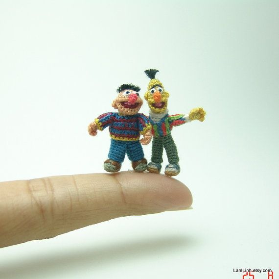 dollhouse miniature art dolls  pair of micro crochet by LamLinh, $169.00