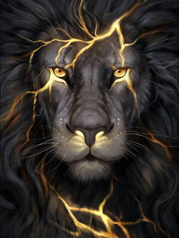 Lightning Lion Diamond Painting Lion Art Lion Wallpaper Animal Art
