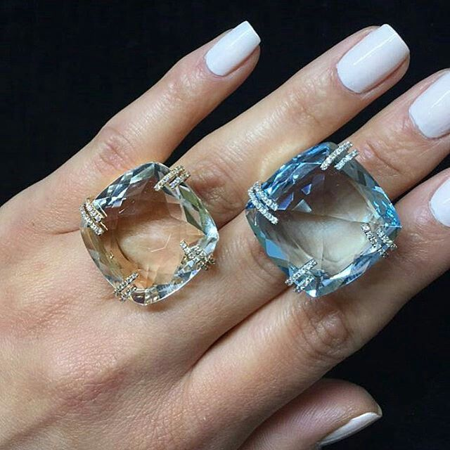 If only people were as transparent as these gorgeous topaz and aquamarine white/rose gold and diamond @brumanijewelry rings that remind as of a calm Maldivian sea #asiajewellers