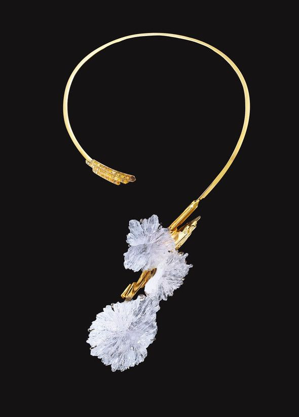 Necklace   Jean Vendome.  'Naira'  Gold with natural amethyst crystals
