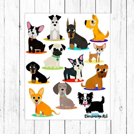 Dogs Art Print Dog Wall Decor Dog Wall Art Pet by CherimoyaArt