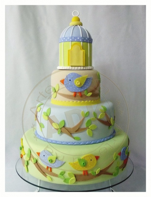 Light Green, Blue and Beige Cake with Blue & Yellow Birds on Stems with Leaves and Bird Cage Topper