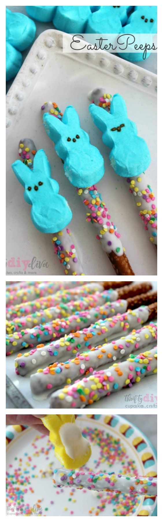 Peeps fans, you'll love these special Easter Peeps Pretzel Rods, decorated in colorful sprinkles and dipped in white chocolate! Fun non-candy Easter treat recipes ideas!