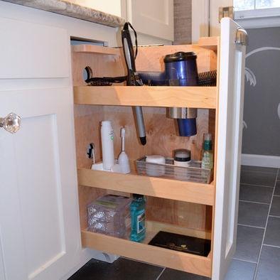 Pull out salon style vanity shelves designed by kustom for Bathroom cabinets greenville sc