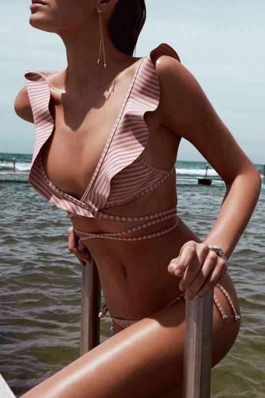 Striped Ruffle V Neck Strappy Bikini Set  - myfashionworld-88