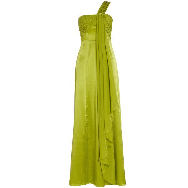 Monsoon Hermera Maxi Dress ($315) ❤ liked on Polyvore featuring dresses, gowns, green, long dresses, vestido, green gown, one shoulder maxi dress, green dress, long green dress and one shoulder gown
