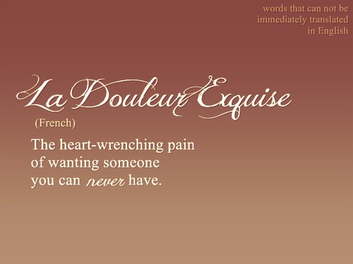la douleur exquise (French): The heart wrenching pain of wanting someone you can never have.