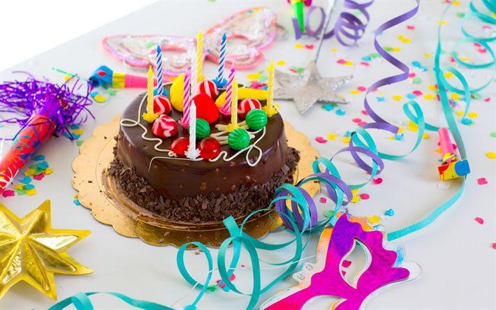 Télécharger fonds d'écran Joyeux Anniversaire, concepts, des bougies, gâteau de vacances, des bonbons, des gâteaux avec des bougies