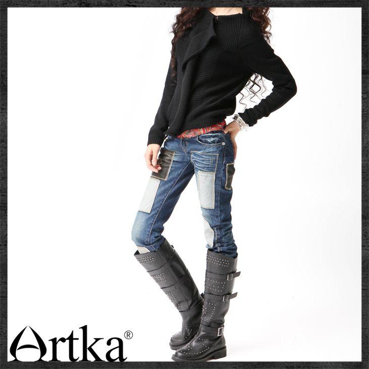Прямые тёмно-синие джинсы в стиле ретро, 14299904398 купить за 4410 руб. с доставкой по России, Украине, Беларуси и миру | Архив моделей | Artka: интернет-магазин обуви и одежды Artka