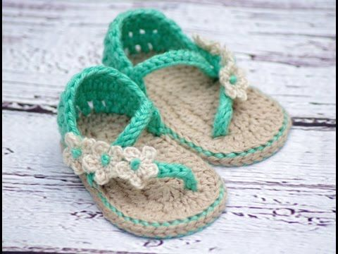 Patucos sandalias bebé ganchillo. Crochet baby sandals. Booties | Galicraft