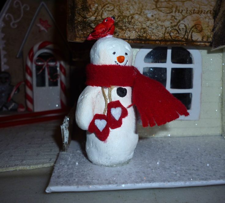 Snowman and Robin made out of air dry clay